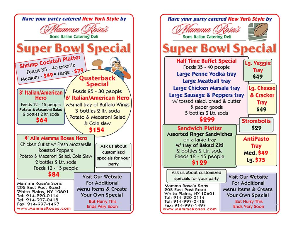 Super Bowl Special Catering Specials
